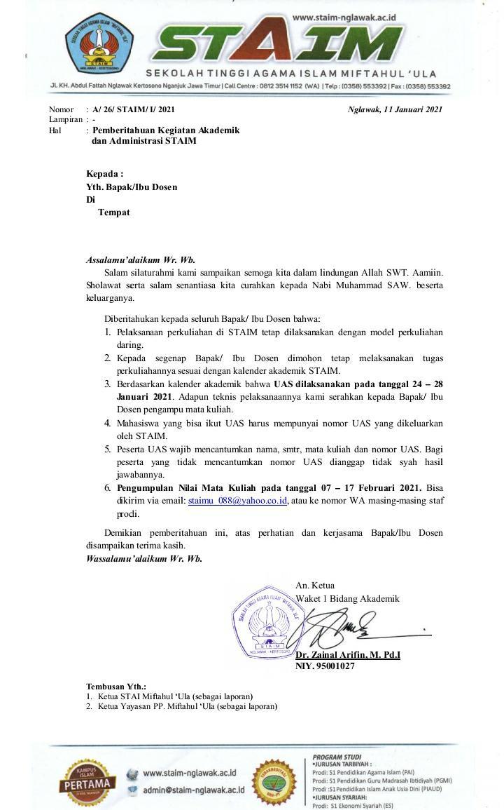 Edaran sistem belajar & UAS STAIM 2021